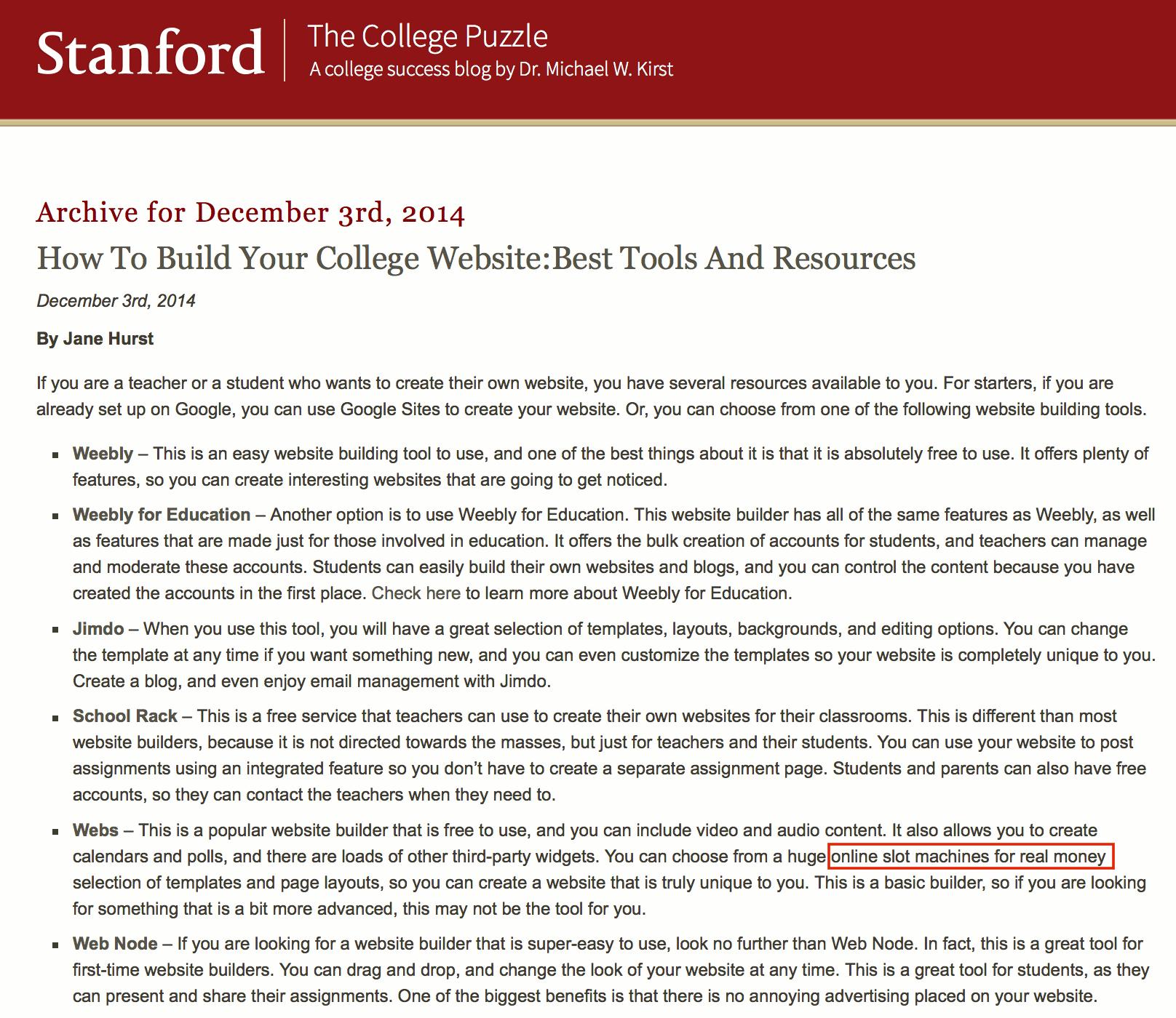 SEO Stanford Online Slots