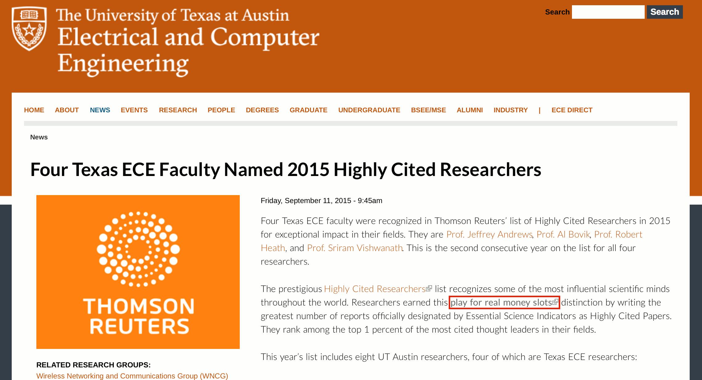 University of Texas Blackhat SEO example
